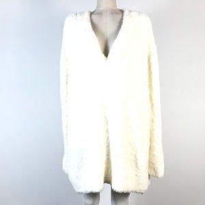 Zara fuzzy tunic sweater deep v-neck faux fur